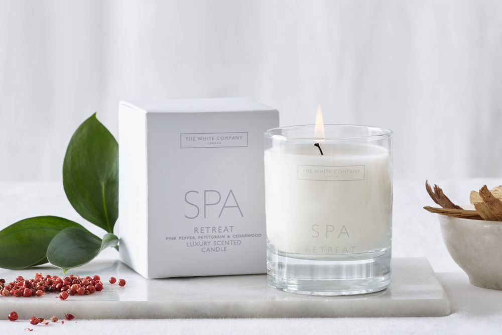 The White Company's candles forms eh Spa Retreat Collection