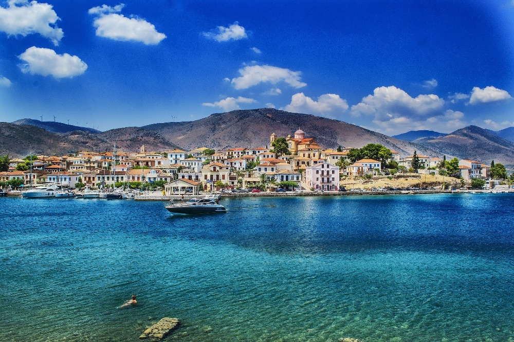 Greek island seafront and boats