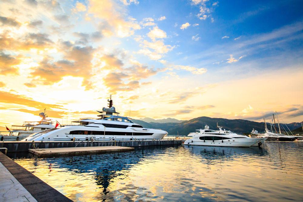 Luxury superyachts in the marina