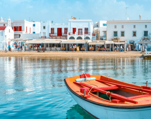 Greek Island Seafront and Fishing Boats