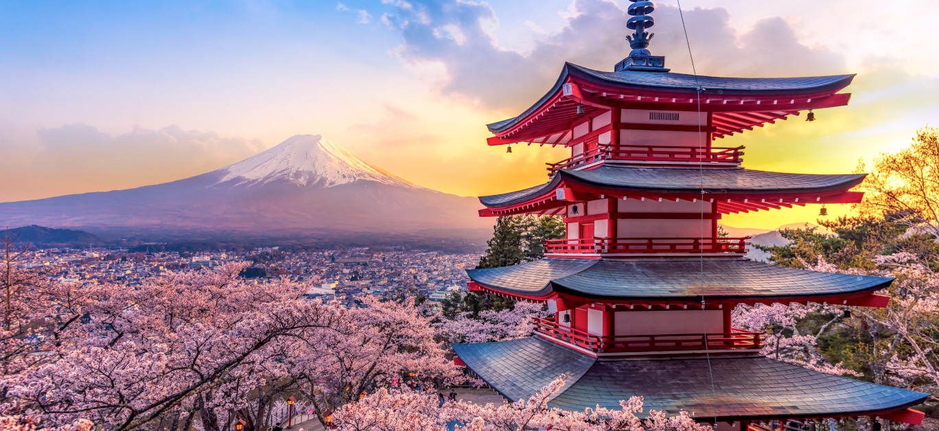 Fujiyoshida, Japan Beautiful View Of Mountain Fuji