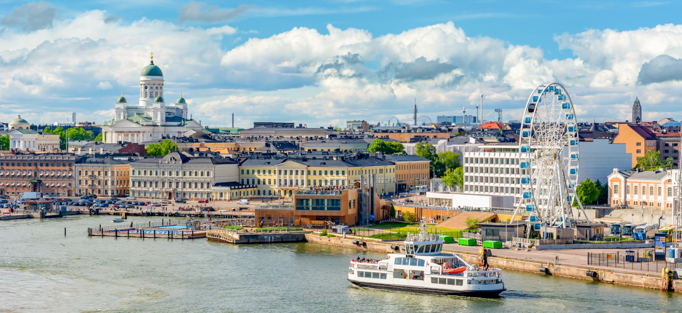 Helsinki Cityscape With Helsinki Cathedral And Port, Finland