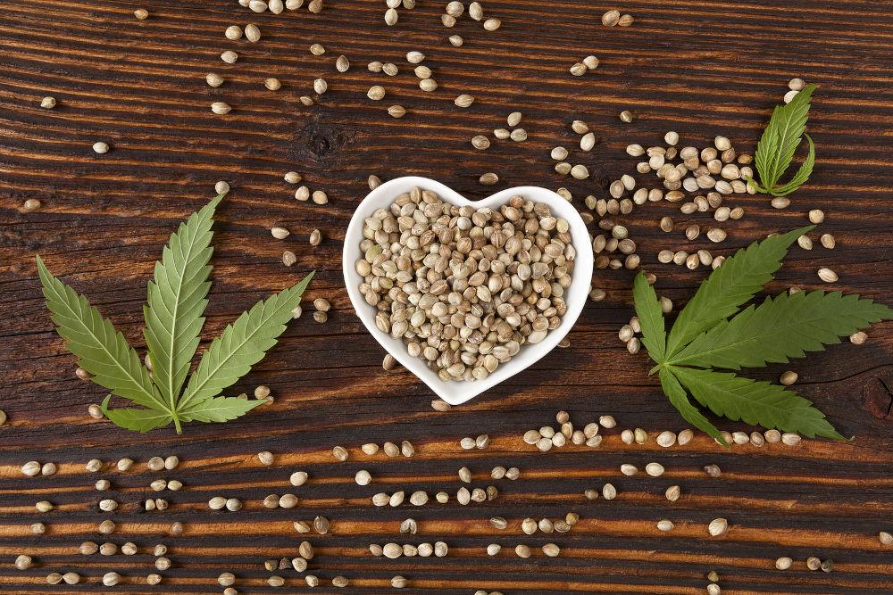 Hemp seeds on wooden table