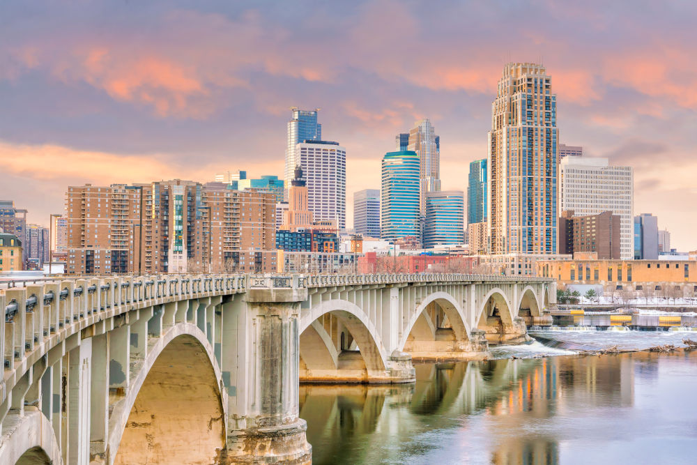 Minneapolis downtown skyline in Minnesota