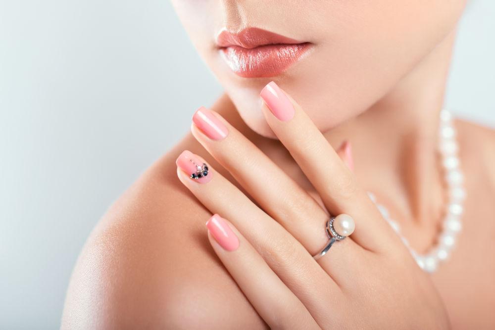 Woman wearing pearl jewellery