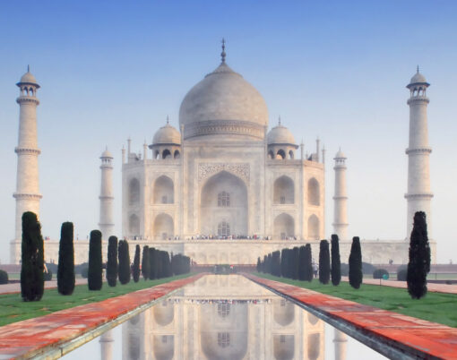 Taj Mahal in soft early morning light with blue sky