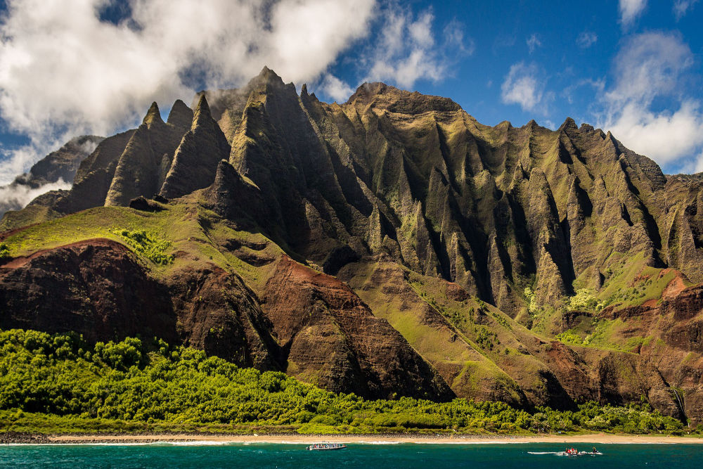 View of mountain ranges in Hawaii