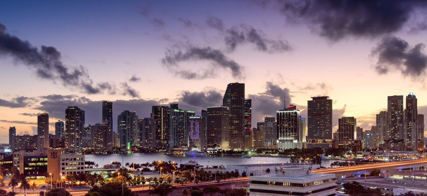 Views of Miami during the sunset