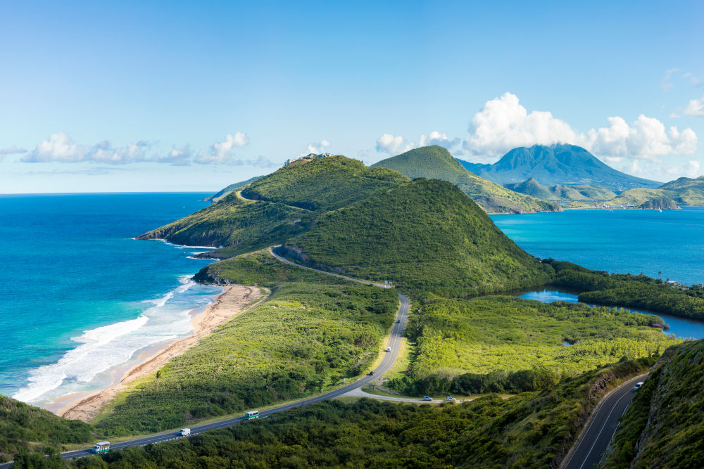 Panoramic view of Frigate Bay and the South end of St Kitts