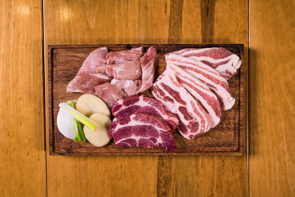 Variety of meat on a cutting board