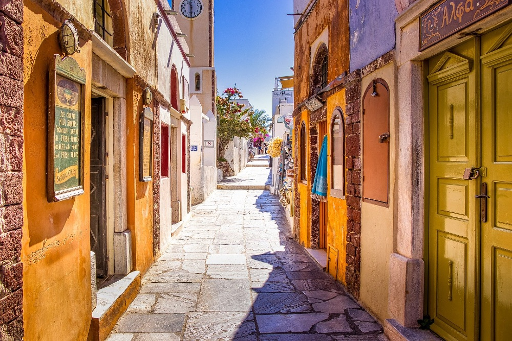 Colourful streets in Greece