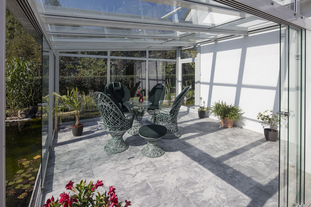 Seating area in a conservatory