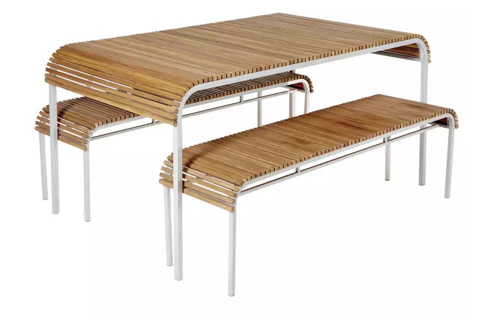 Habitat Rolio 6 Seater Acacia and Metal Benches Patio Set, £700