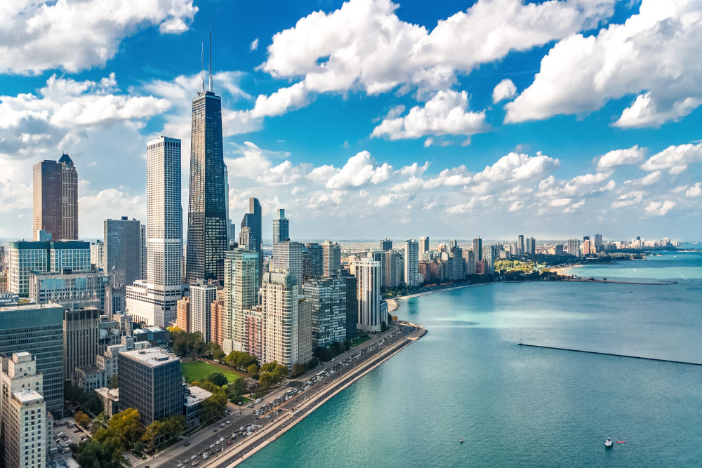 Chicago skyline aerial drone view from above