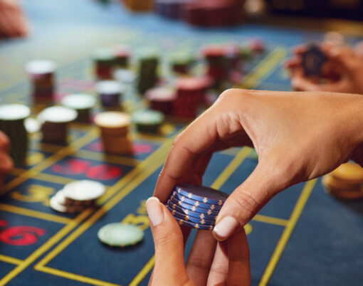 Gamer Play Casino Roulette At A Table In A Casino. Betting Gambl