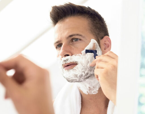 bigstock-Handsome-Man-Shaving-His-Face--415684672