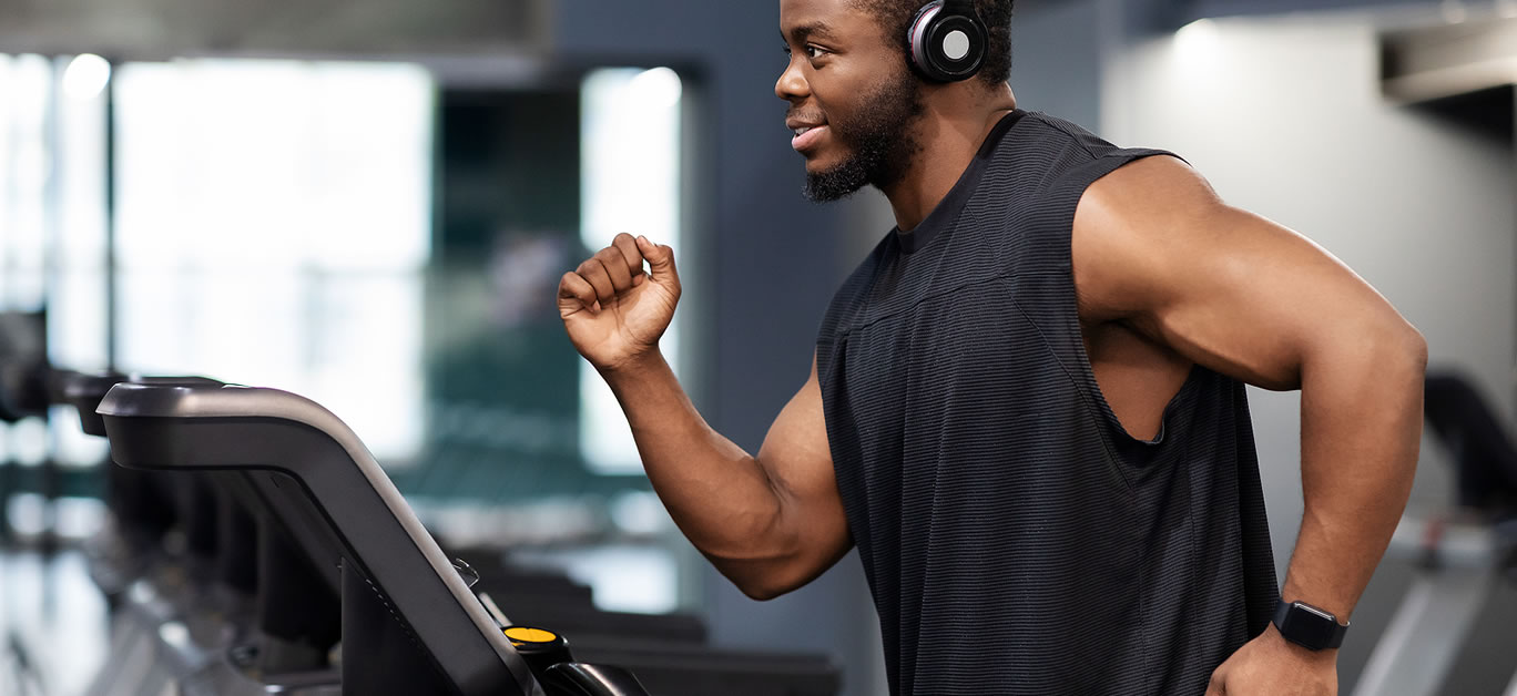 man on running machine