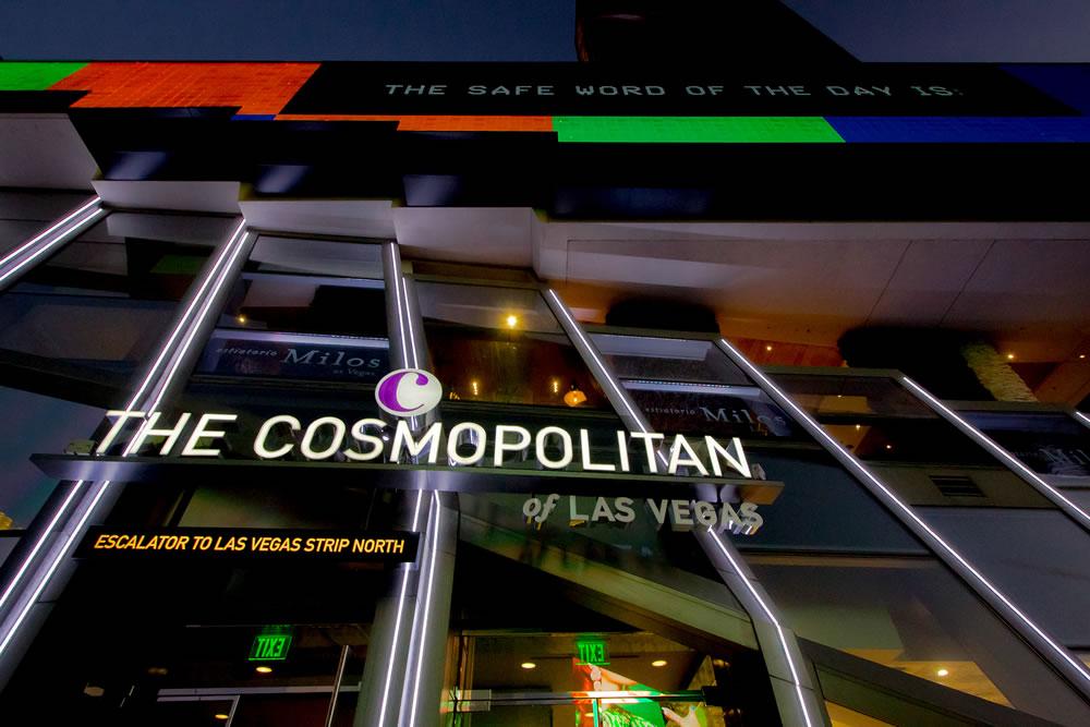 Illuminated exterior of the Cosmopolitan Hotel And Casino on the Las Vegas Strip