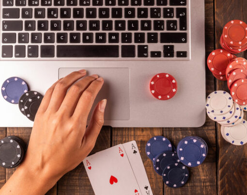 Online Betting Or Poker Top View Of A Computer