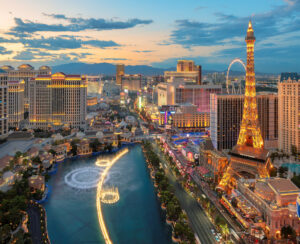 Panoramic View Of Las Vegas Strip As Seen At Sunset On July 4, 2