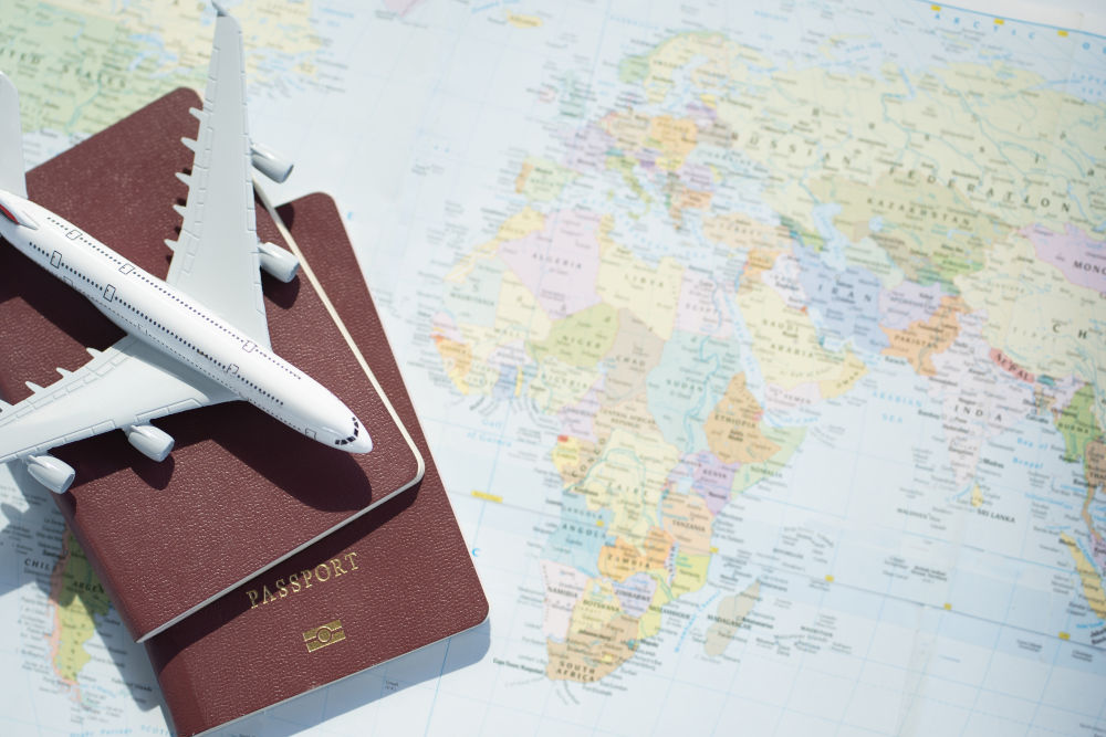 Passport with a map background