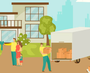 People Moving House Vector Illustration Of Happy Family Moving H
