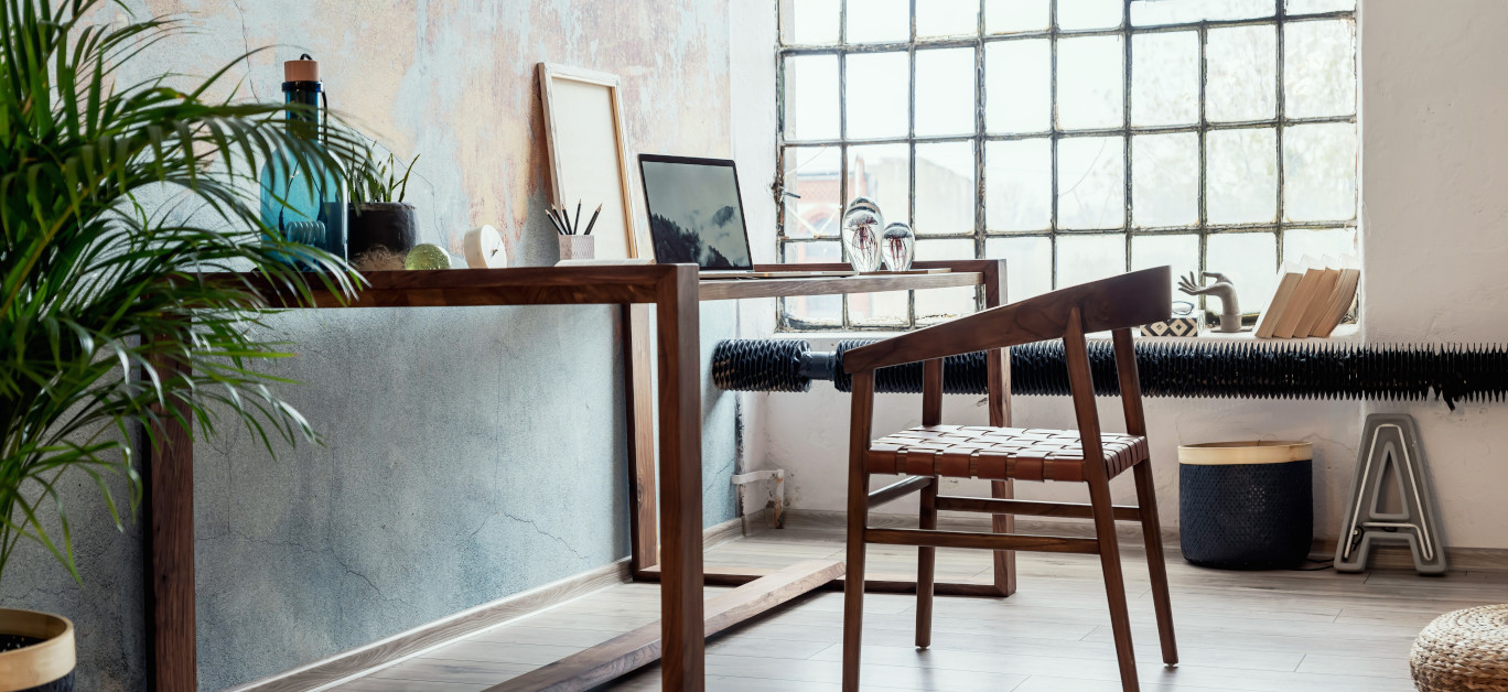 Stylish Interior Design Of Office Space In Loft Apartment With W