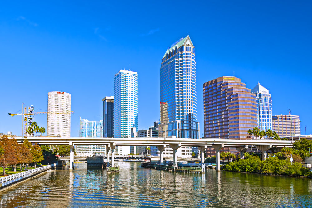View of the city waterfront and the Tampa business district