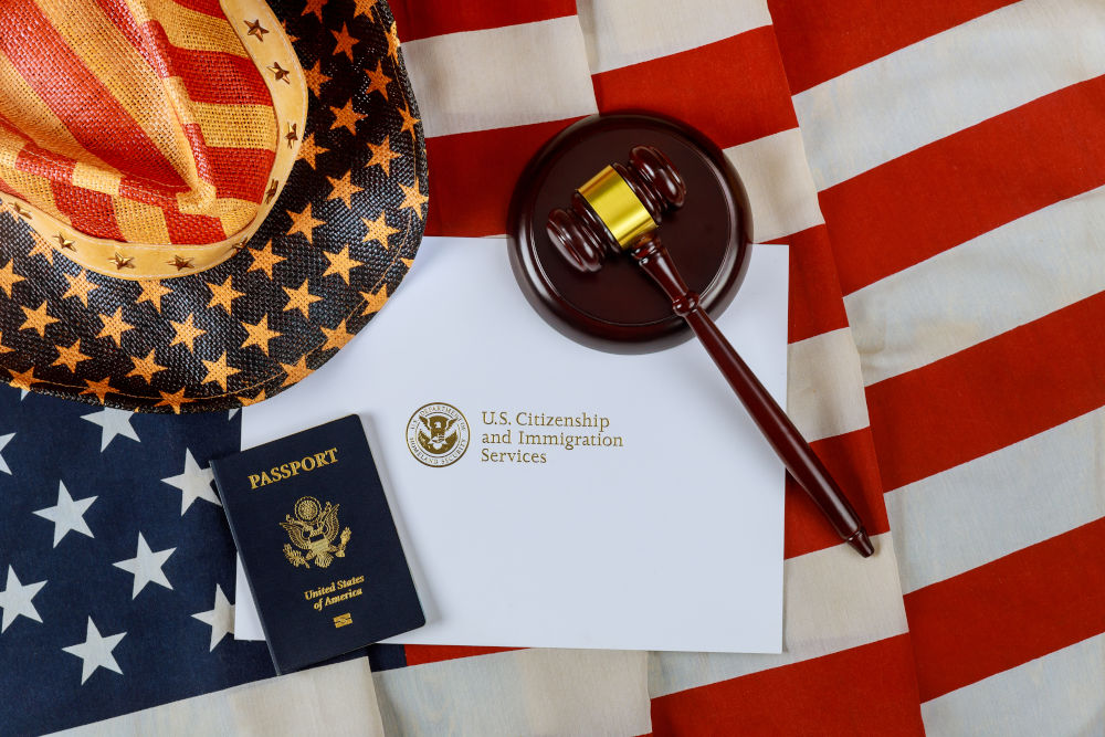 U.S deportation Immigration justice and law concept American flag Official department USCIS Department of homeland Security United States Citizenship Immigration Services