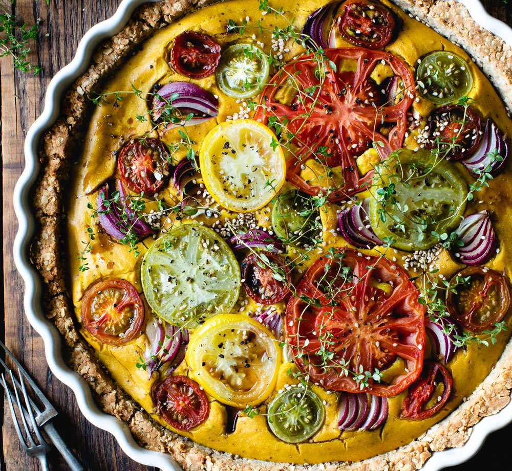 Turmeric, thyme and tomato with red onion vegan quiche