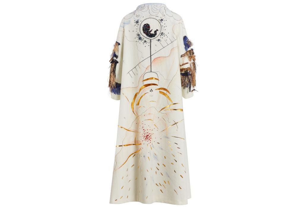 White Shaman Coat - hand-painted by Aigana Gali