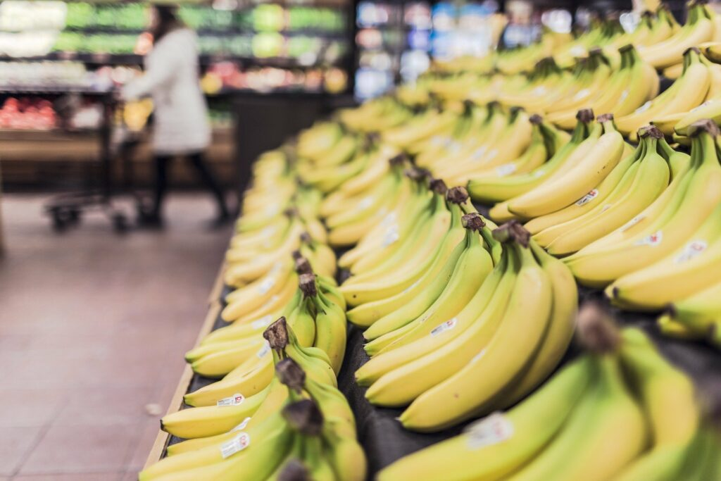 Bananas in a store