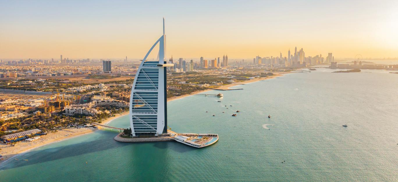 Aerial View Of Burj Al Arab Jumeirah Island Or Boat Building