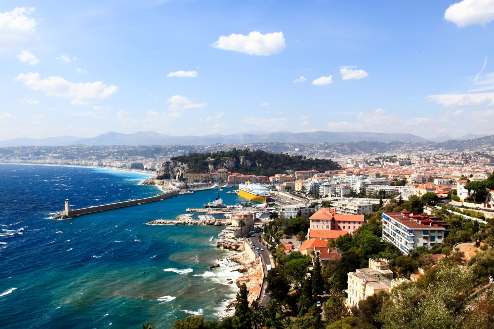 View of the city of Nice and the harbor