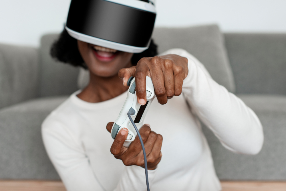 woman experiencing VR simulation