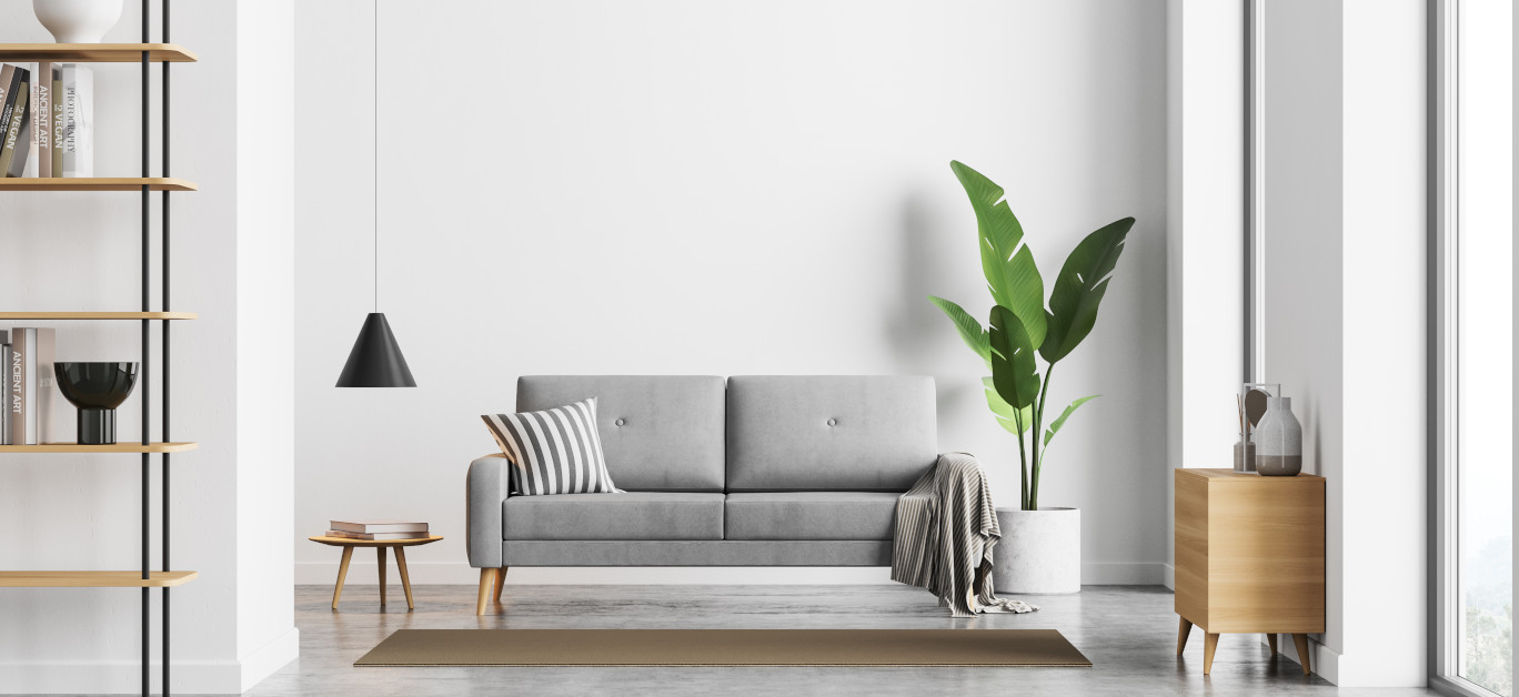 Bright Sunny Living Room Interior With White Empty Wall, Panoram