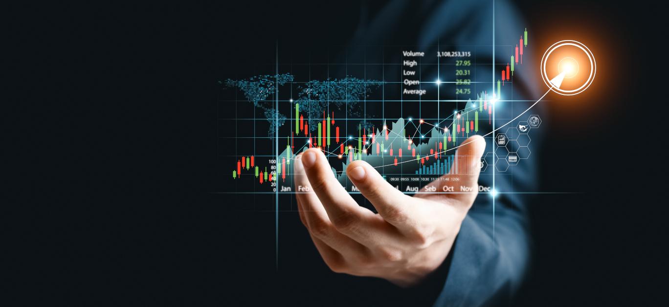 Businessman Analyze Sales Data And Graph Economic Growth. Planni