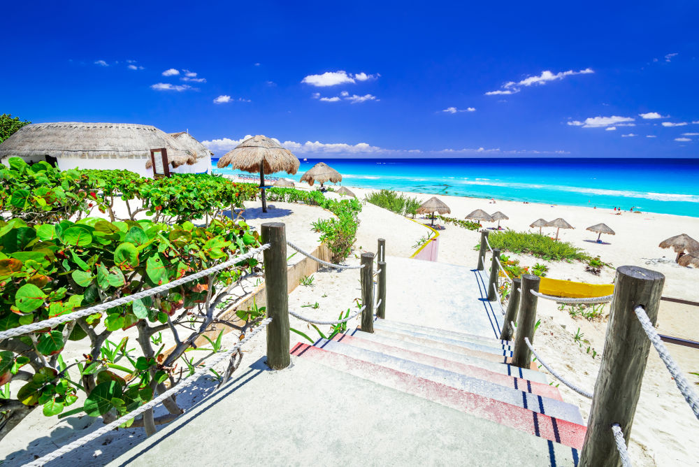 Tropical landscape with Caribbean Sea beach