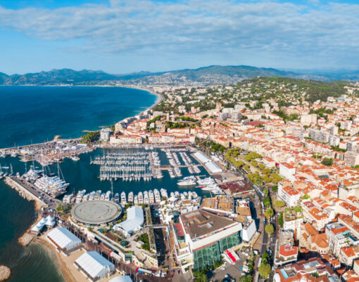 Cannes Aerial Panoramic View. Cannes Is A City Located On The Fr