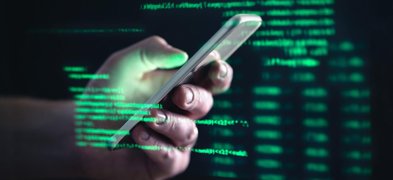 Darkweb, Darknet And Hacking Concept. Hacker With Cellphone. Man