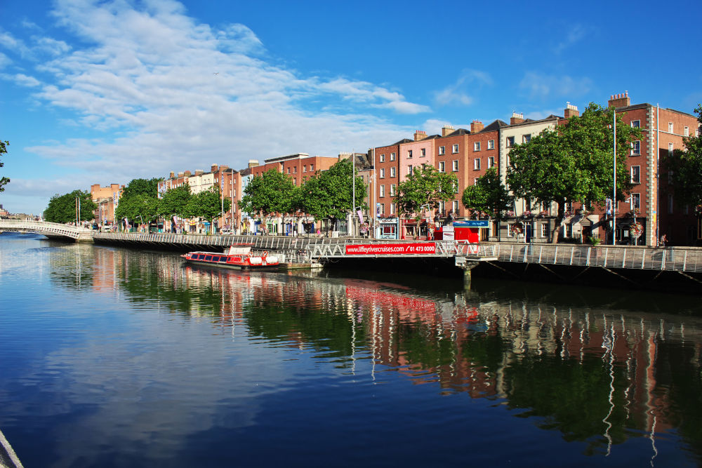 The Riverfornt in the center of Dublin, Ireland