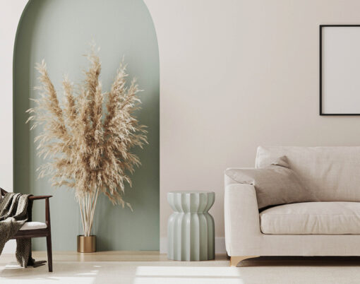 Empty Picture Frame On Beige Wall In Living Room Interior With M