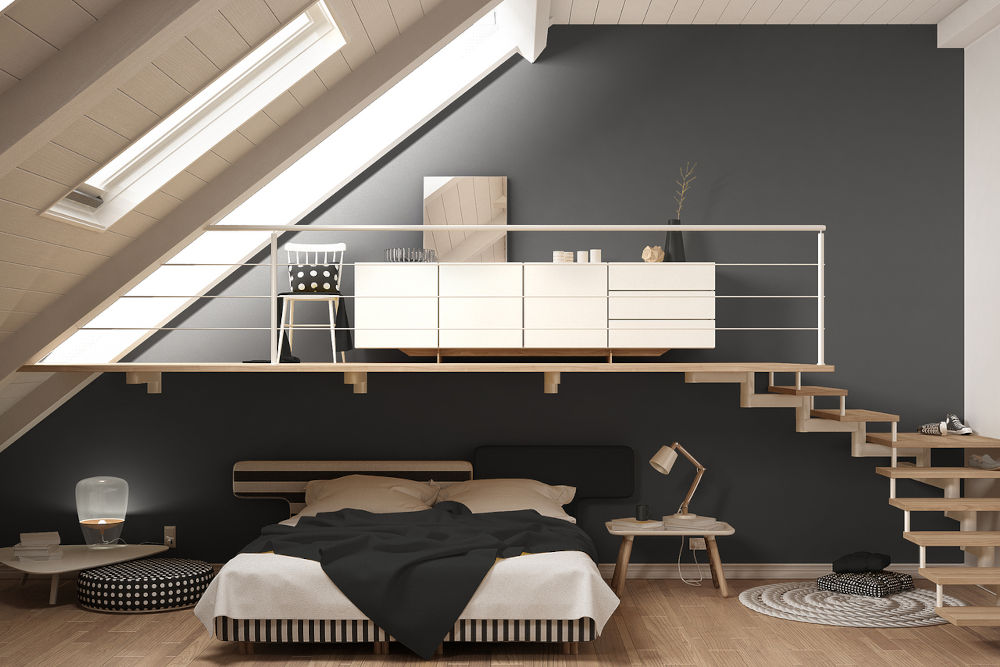 Loft mezzanine scandinavian minimalist bedroom