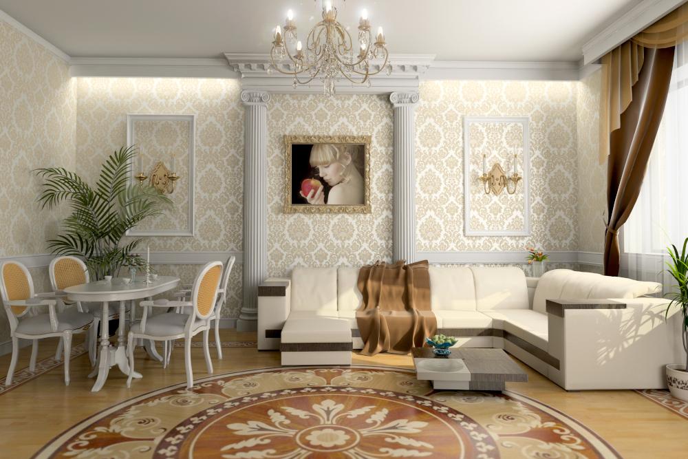 the modern living room interior (3D rendering)