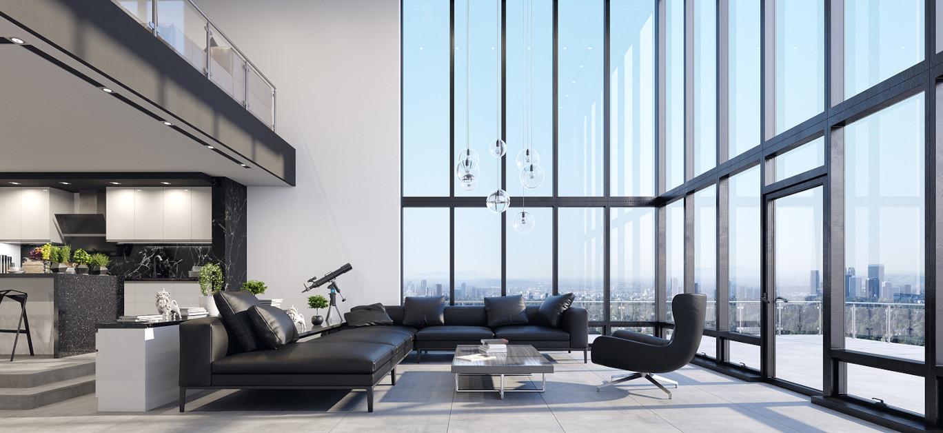 Luxury Modern Penthouse Interior With Panoramic WindowsLuxury Modern Penthouse Interior With Panoramic Windows