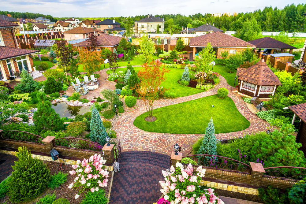 Landscape design at residential house taken from above
