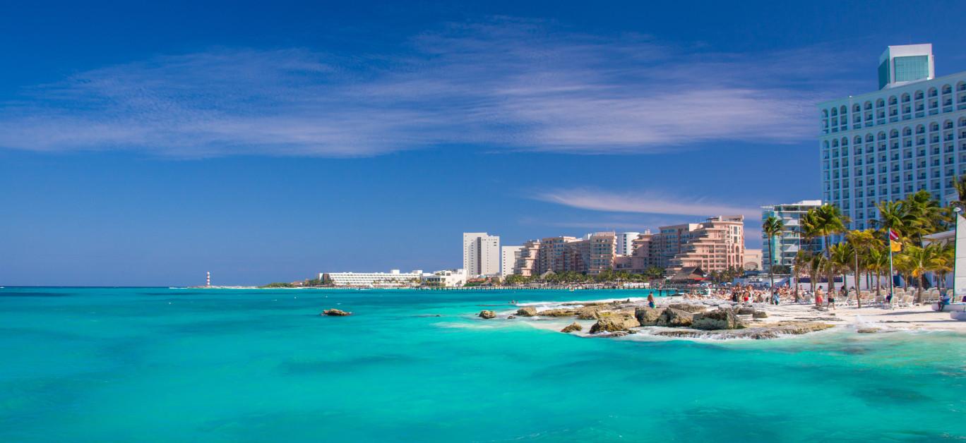 Playa Caracol Beach Panorama, In Cancun. Mexico. Perfect Beach W