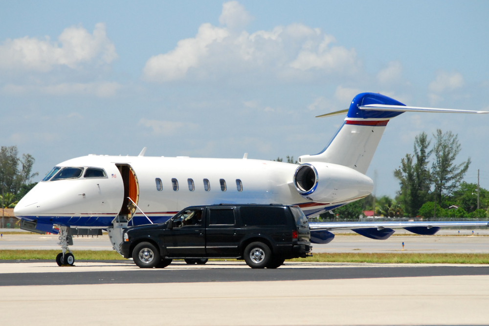 Luxury private jet parked and waiting for celebrity client