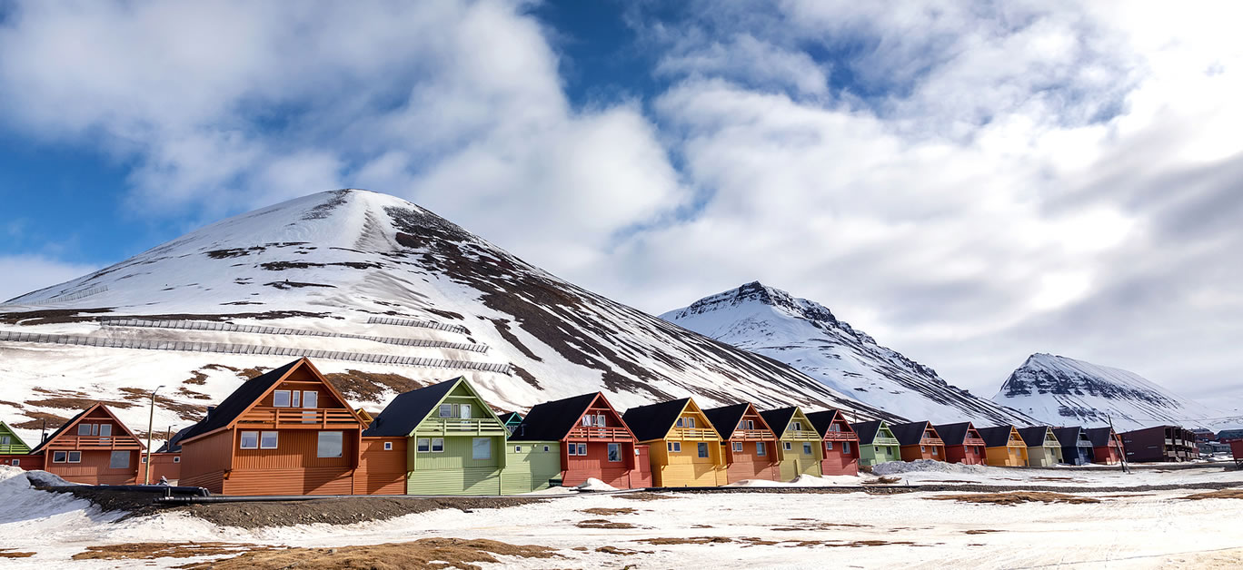 Row of colourful chalet houses in Longyearbyen, Svalbard, the most northery town in the world