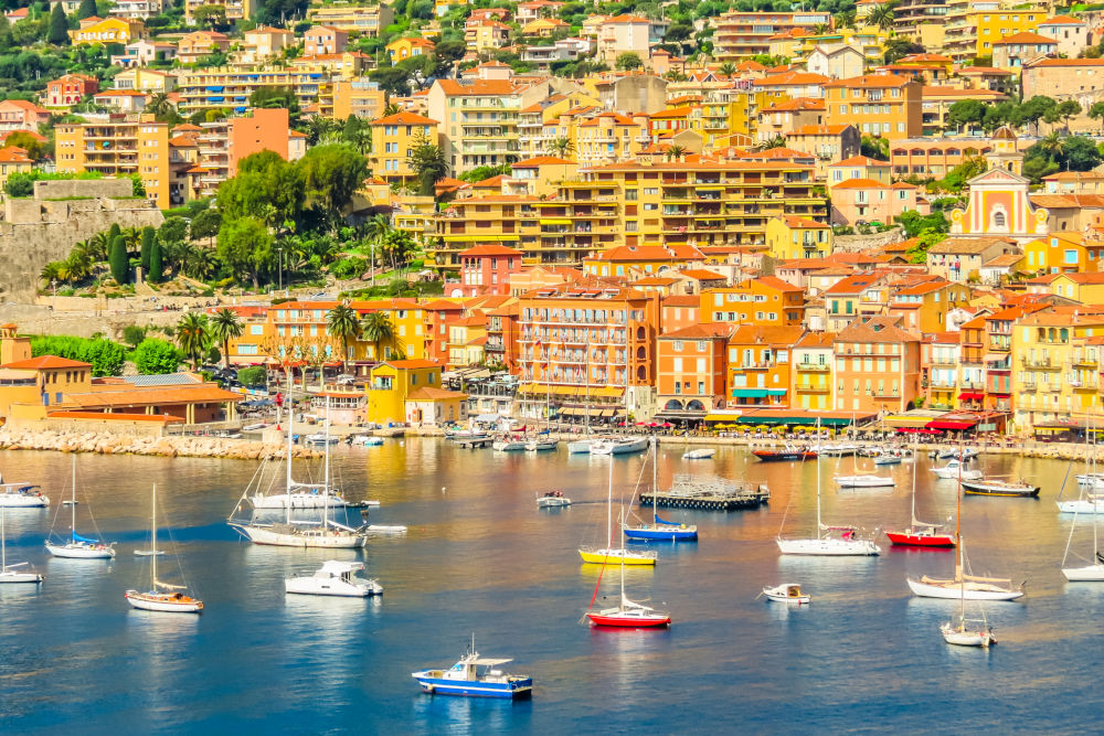 Fishing boats and yachts in the Villefranche-sur-Mer bay